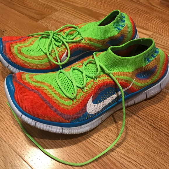 best sneakers 14527 5bd9e ... promo code nike free 5.0 flyknit rainbow running shoes rare 9dd27 02beb